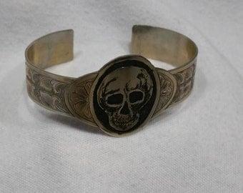 Hand Engraved Skull & Scroll Bracelet