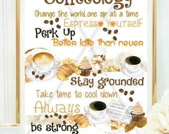 COFFEEOLOGY PRINT, Cute Coffee Sign, Coffee Wall Art, Kitchen Sign, Coffee Shop Sign, Printable Art, Coffee Bar Sign, Wedding Coffee Bar