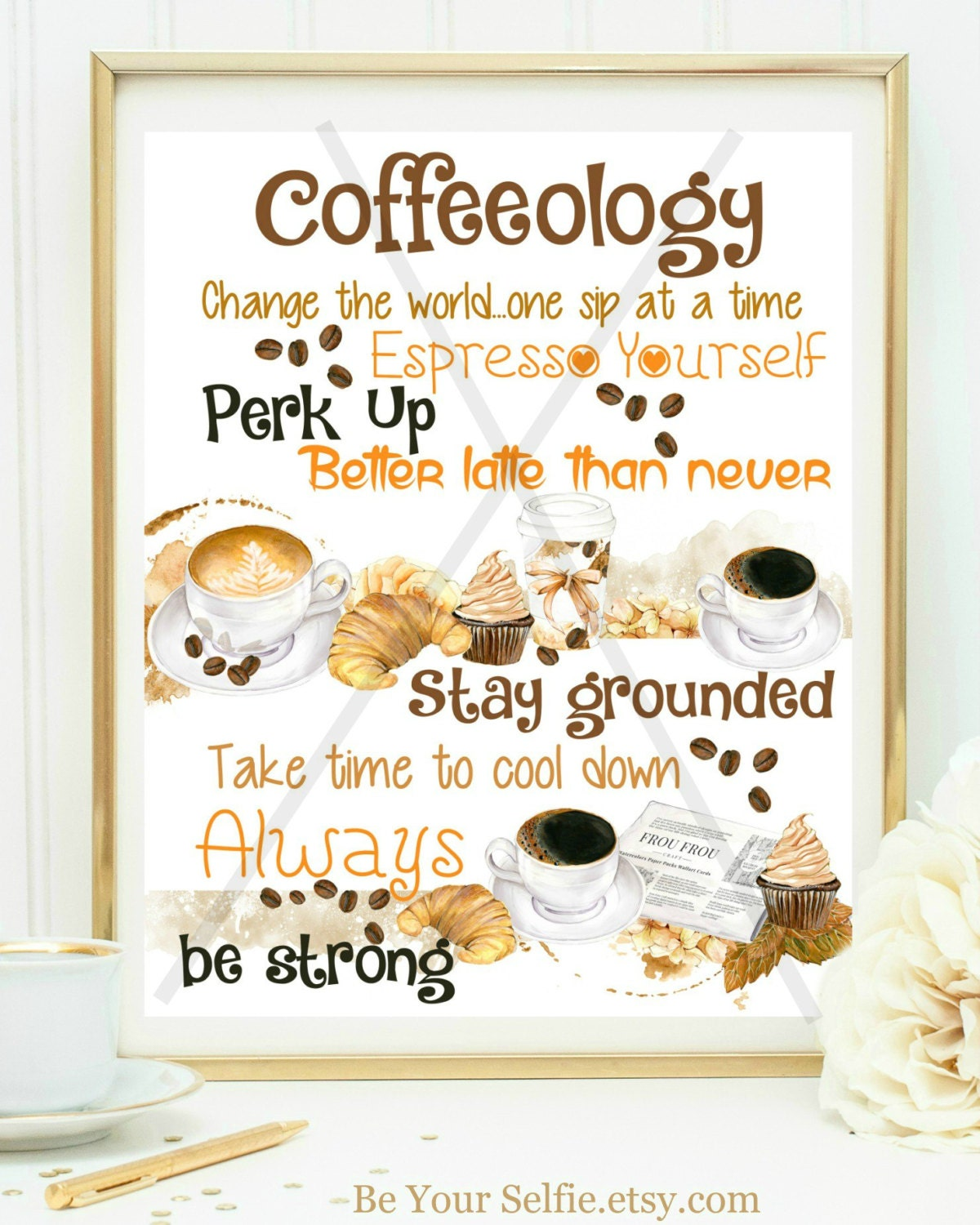 Funny Kitchen Art Funny Wedding Sign Instant Download Tea: COFFEEOLOGY PRINT Cute Coffee Sign Coffee Wall Art Kitchen