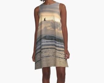 Lavender A Line Dress, Flattering Beach Dress, Ocean Print Dress, Wearable Art Dress, Casual Dress, Short Dress, Beach CoverUp, Pastel Dress