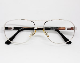 Vintage 70s aviator bright silver frame made in Italy by SFECOFLEX elasta system, renewal aviator double bridge