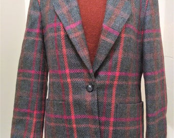 Vintage Liz Claiborne Wool Blazer, Vintage Wool Blazer, Plaid Blazer, Preppy Blazer, Liz Claiborne Blazer