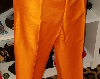 Vintage, 1960's, Alex Coleman, orange, cigarette, capri, pants