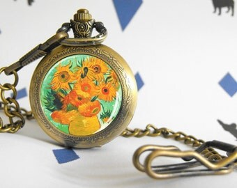 Sunflowers - Van Gogh - Pocket watch - Victorian Steampunk style - Glass cabochon - Special Easy gift