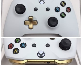 Custom Gloss White & Gold Xbox One Controller - Brand New