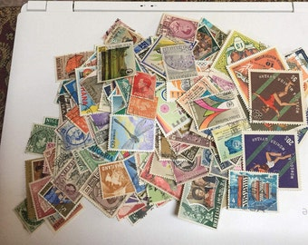 Vintage Lot of 225 Foreign Postage Stamps from England, Australia, Bristish Colonies and other Countries