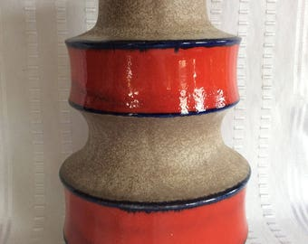 Vintage Scheurich W Germany Keramik red band modernist ceramic pottery vase