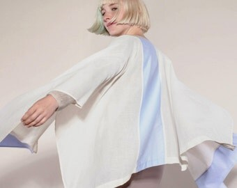 light, delicate Cape made of organic cotton in cream-white and lilac vonHirschhausen, natural coloured cotton