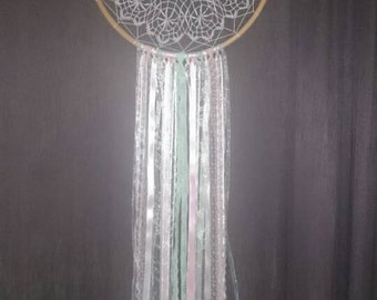 Mint, white and pink vintage style dream catcher