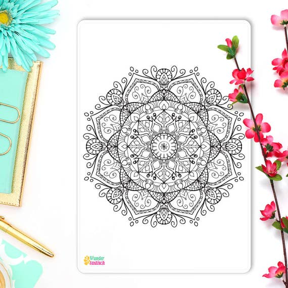 bullet journal mandala coloring insert