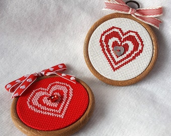 valentines day heart cross stitch in frame with ribbon bow