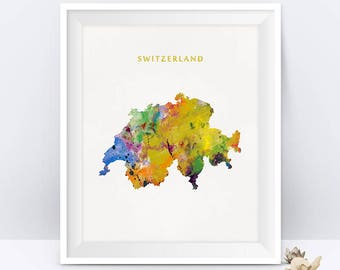 Switzerland Watercolor Map Switzerland Art Print Map Art Colorful Bern Switzerland Poster State Art Office Home Decor Gift Digital Download