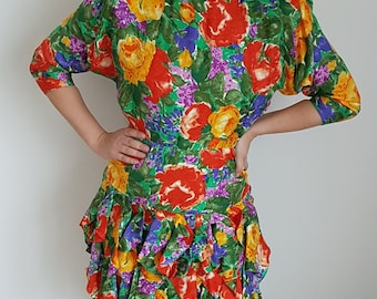 Vintage summer dress in 100% silk