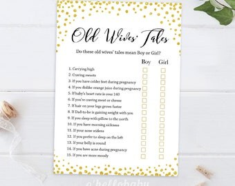 Old Wives Tale Baby Shower Game - Gold Baby Shower Games - Gold Confetti Baby Shower Games - Gold Glitter Baby Shower Games 016