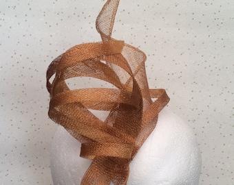 Gold Fascinator Hatinator Headpiece Wedding Ochre  Fascinator on Clip or Comb Bespoke