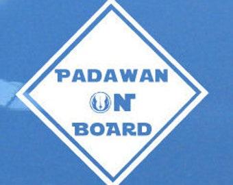 Star Wars - Padawan on Board - Vinyl Car Decal - Baby On Board - Jedi On Board - Star Wars Baby - Star Wars Car
