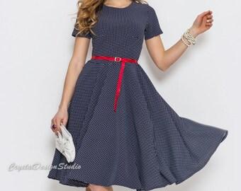Dress shortsleeve casual wear Midi dress polka dot Office dress flared Casual women's dress Cobalt Blue dress Red dress spring collection