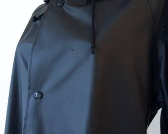Long black pvc raincoat