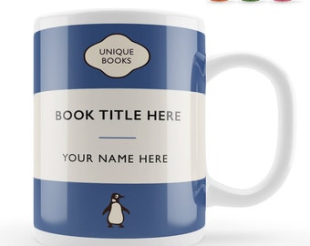 Personalised Custom name Book Mug gift, unique book lover gift, personalized author vintage classic book cover birthday present idea uk