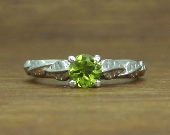 Peridot Leaf Engagement Ring, Peridot Leaves Engagement Ring, Peridot Alternative Engagement Ring, White Gold Leaf Ring With Peridot