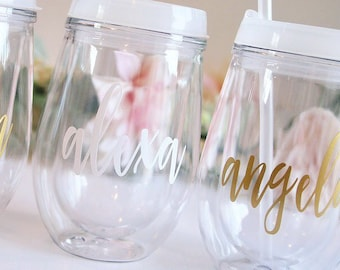 Wine Tumbler with lid and straw. Custom Adult Wine Sippy Cups for wedding and bachelorette party. Bridesmaid gifts, white, gold, rose gold