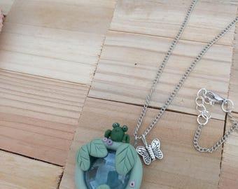 Light blue glass light catcher frog & leaf chain forest luck OOAK fairy fairy magic enchanted gift girlfriend girl