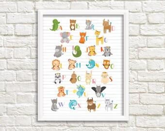 Cute Animals Alphabet Nursery Printable Wall Art Baby Animal Alphabet Nursery Print Animal ABCs Nursery Print Animal Letters Nursery Decor