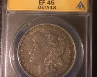 1921-D  Morgan Silver Dollar Coin - Authenticated - Graded EF 45