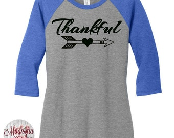 Thankful, Heart Arrow,  Thanksgiving, Womens Baseball Raglan 3/4 Sleeve Top in 5 colors, Sizes Small-4X, Plus Size