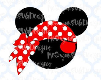 Pirate Minnie 2 Mouse Head SVG,EPS,PNG,Studio