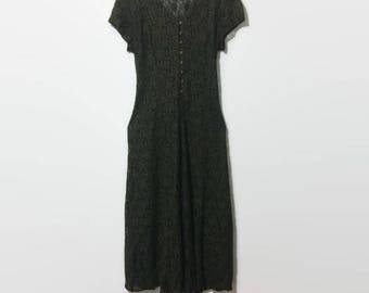 1980s All That Jazz Lace Button-up Maxi Dress S/M
