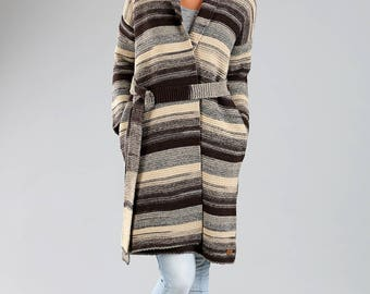 Knitted cardigan / Oversized cardigan / Knitted wool sweater / Knitted wrap / Wool cardigan / Long cardigan / Brown cardigan