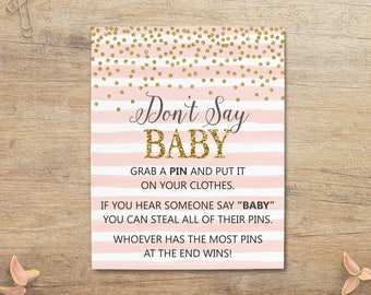 Dont Say Baby Game, Baby Shower Sign, Blush Pink Gold Confetti, Steal Pins, Pin Stealing Game, Girl Decor, Printable, GP Instant Download