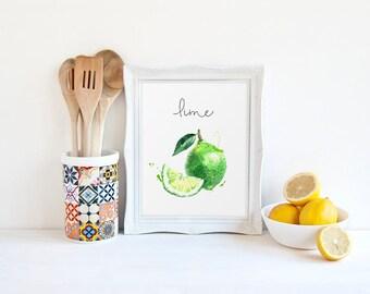 Food Painting, Lime, Fruits Printable, Watercolor Print, Cook Printable, Kitchen Wall Art, Restaurant Decor, Kitchen Decor, Veggies