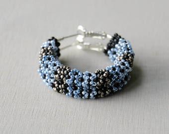 Seed bead earrings, seed earrings, seed bead hoops, beaded hoops, bohemian hoops, seed bead jewelry, big hoops, large hoops, blue earrings