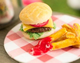 Cheeseburger and Fries - 1:12 Dollhouse Miniature