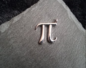 6 Bright Silver Plated Pi Symbol Charms 18x16mm