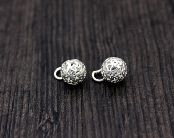 10mm Sterling Silver Hollow Ball Pendant,Bright Silver Round Ball pendant