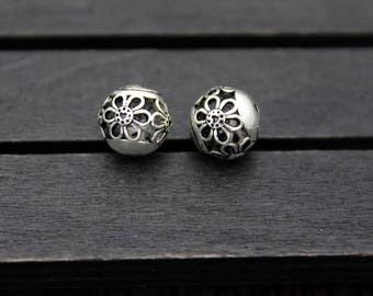 2pcs- 10mm Sterling Silver Flower Beads,Hollow flower beads,Silver spacer bead
