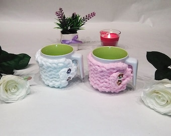 Set 2 mug cozy, home gift, cup cozy, birthday gift for, her mug sweater, mug holder, coffee cozy, tazza cozies, gift for girlfriend