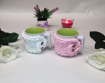 Set 2 mug cozy, cup cozy, mug sweater, mug holder, coffee cozy, tazza cozies, Of a candid white and pink color