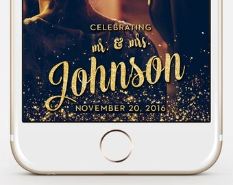 LIMITED TIME! Custom Snapchat Sparkle Gold Wedding Geofilter, Photo filter, Mr. and Mrs. Wedding filter, GeoFilter,Wedding Geofilter