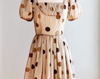 """1950's Gingham Fit and Flare Party Dress/Waist 24"""""""