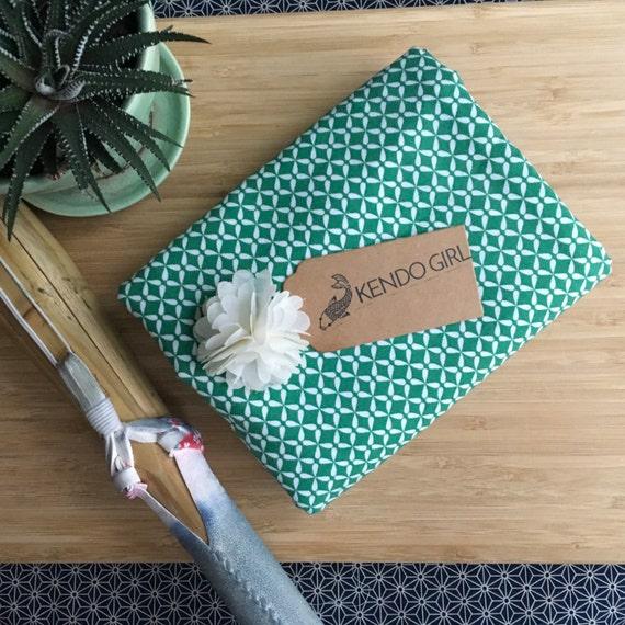 Furoshiki Gift Wrapping Cloth - Japanese Cotton Furoshiki - Greenburst Design by Kendo Girl