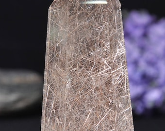 "3""Natural Clear Sliver and Red Rutilated Quartz Point/Rare White Tourmaline Rutilated Crystal Tower-78*34*26mm 94g"
