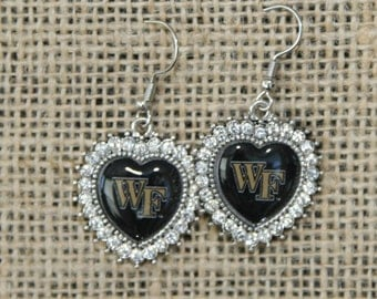 Wake Forest University Rhinestone Dangle Earrings