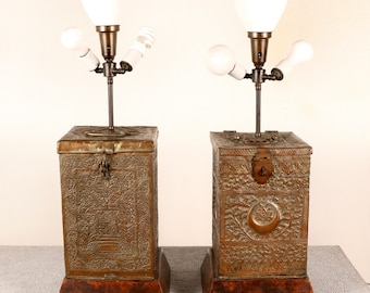 Moroccan Copper Table Lamps - Pair