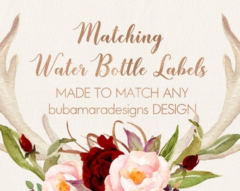 ADD MATCHING Water Bottle Labels, Customizable water bottle labels to match any of BubamaraDesigns design, add on size 8x2