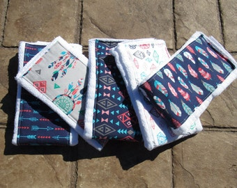 Baby Burp Cloths, Set of 5 Feathers and Arrows