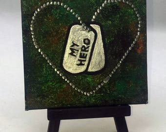Personalized Military Paintings - Small Art Painting with Desktop Easel, 4 x 4 inch